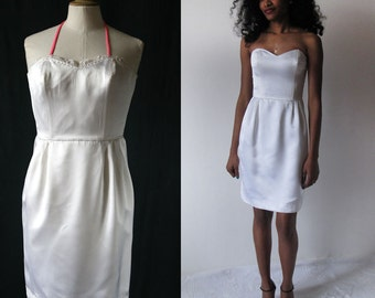 1980's French bustier dress white sateen