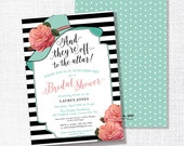 BIG HAT bridal shower invitation they're off to the altar big hat brunch wedding shower luncheon Coral and Aqua kentucky derby horse race