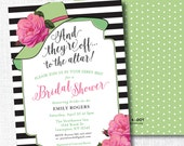 BIG HAT bridal shower invitation they're off to the altar big hat brunch wedding shower luncheon Lime and hot pink kentucky derby horse race
