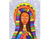 Art Print: Holy Mother - Our Lady of Guadalupe - Virgin Mary - Mexican American Folk Art - Christmas Painting Spiritual Peace