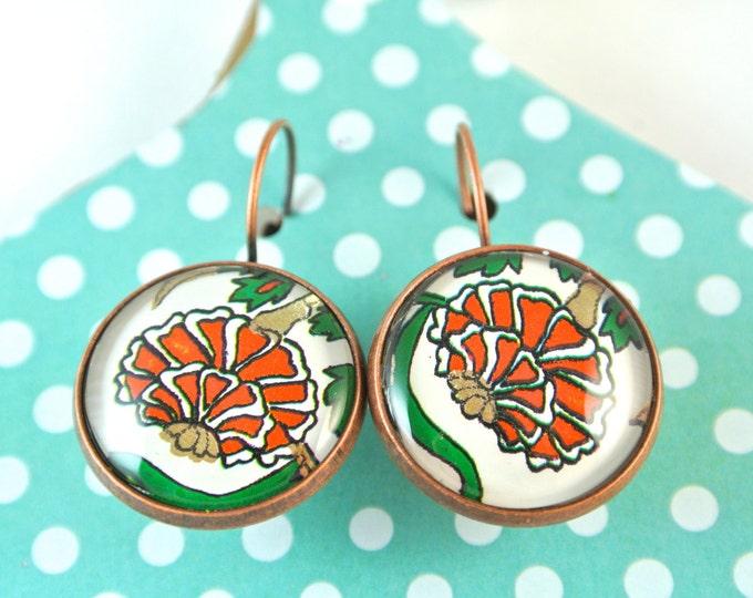 Turkish Art Earrings: Handmade Christmas Day Gift - Turkey Istanbul Grand Bazaar Iznik - Jewelry Flowers Artwork - Blue Red Green