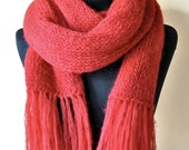 bright red mohair wool knit scarf, super long and soft, with fringes, One Of a Kind, handmade, gift idea, women, girls