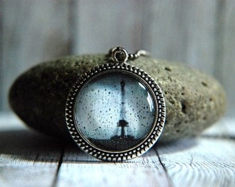 """1"""" Round Glass Pendant Necklace or Key Chain  - Paris in the Rain"""