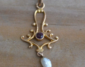 Lovely antique edwardian art deco 10k gold lavalier pendant with amethyst paste and pearl