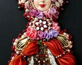 Bead embroidered Pendant necklace lace shibori silk ribbon Beadwork Ooak art doll seed beaded jewelry Goddess