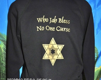 Who Jah Bless........goldprint on black sweater, size M