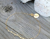 Personalized twig bracelet, 14kt Gold fill branch bracelet, Gold Fill bracelet with custom stamped initial charm disc, bridesmaids Gift