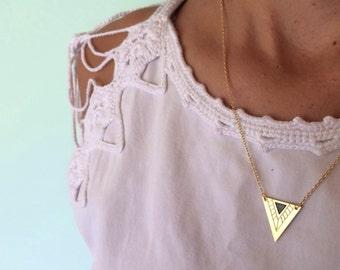 Geometric necklace, sale, geometric, engraved Unique pendant.