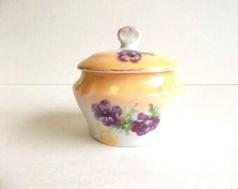 Vintage porcelain vanity trinket jar box violets flowers motif, golden tan white china porcelain dresser item, cream pot Cottage Chic