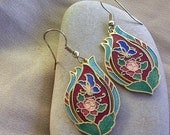 Vintage Cloisonne Earrings - Gold Tone w/ Fish Hook Ear Wires - 70's - Enamel Butterfly and Flowers
