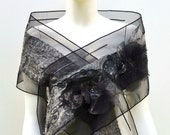 Black Silk Organza Formal Stole Nuno Felt Freshwater Pearls Lace