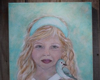 Original 11 x 14 Child and Bird Acrylic Painting-Inspirational -Children's Portrait-Nursery Room-Angel, Earth Angel-Turquoise- Girl's room