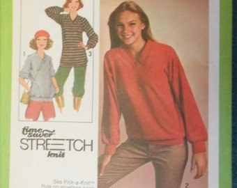 1978 Simplicity Printed Pattern 8618 Size N (10-12-14) - Misses Pullover Top in two lengths - A Time Saver Stretch Knit Pattern