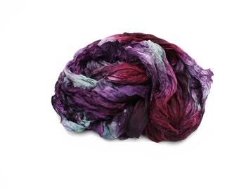 silk scarves,  hand dyed silk scarf - Nostalgia - purple, burgundy, mint silk scarf