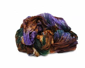 brown silk scarf -  Landscape -  brown, lavender, green silk scarf.