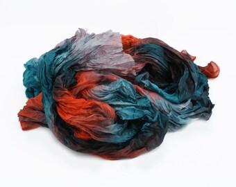 coral silk scarf - Diving -  teal, grey, coral  silk ruffled scarf.