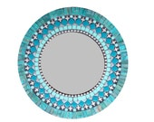Silver Teal Black Mosaic Mirror, Round Mixed Media Wall Art