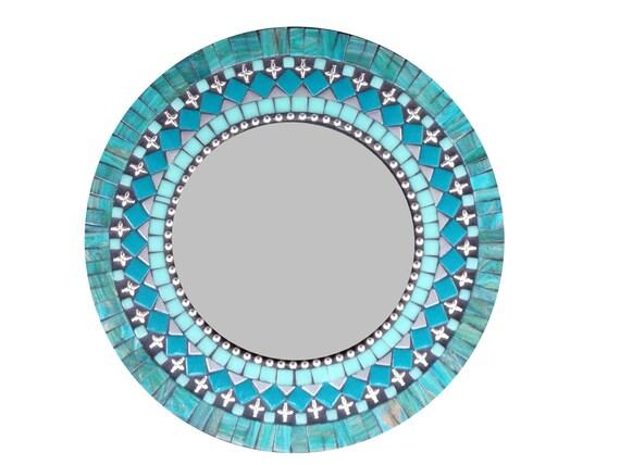 Silver Teal Black Mosaic Mirror Round Mixed Media Wall Art