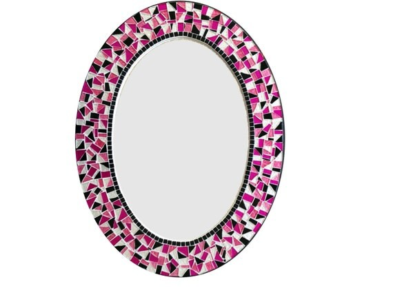 Pink Wall Mirror mosaic mirror / oval wall mirror / pink black white / teen