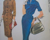 Vintage 1960s Slim Fitting Coat Shirtwaist Dress Pattern McCalls Pattern 6088  Size 14