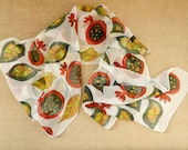 Abstract pomegranates scarf. Hand painted silk scarf  in red, green , yellow colors. Ready to ship.