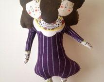 Two Headed Girl- Sideshow Performer- Art Plush Doll- Handmade, Painted- Circus OOAK