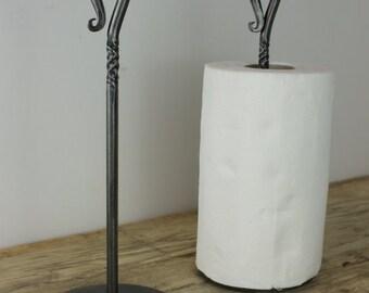 Kitchen Towel Holder -Paper Towel- Shepherds Crook - Blacksmith Hand Forged
