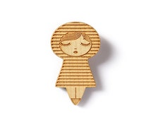 Wooden doll brooch - stripes - striped pattern - matriochka - kokeshi - geometric - laser etched - lasercut maple wood - minimalist