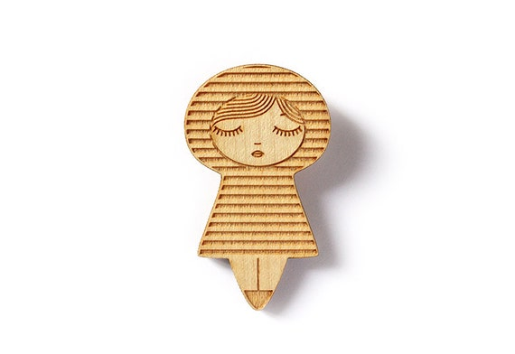 Sailor doll brooch - striped kokeshi brooch - kawaii matriochka pin - illustrated brooch - cute geometric doll jewelry - lasercut maple wood