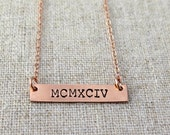 Rose Gold Bar Necklace Personalized Jewelry Name Necklace Bridesmaid Gift Nameplate Necklace Layering Necklace Dainty Necklace Hand Stamped