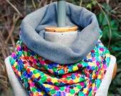 Multicolor dots Scarf,  Cotton Neck Warmer, Colorful Cowl, Chunky Tube,  Dotted Cosy snood
