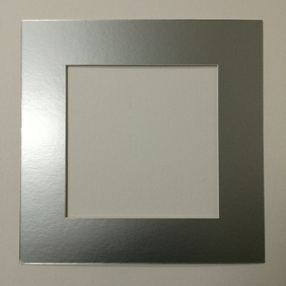 Pack Of 5 12x12 Square Silver Picture Mats With White