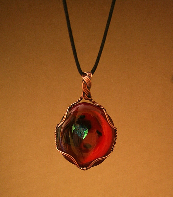 Copper Wire Wrapped Art Glass Pendant With Red Black