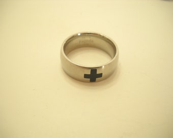 Vintage Pagoda Black Cross Ring (9996) Size 12, Piercing Steel Band