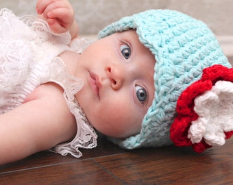 0 to 3 Month Baby Girl Hat Flapper Beanie Aqua Blue Baby Hat Red Baby Hat White Baby Hat Crochet Flower Hat Photo Prop Photography Prop