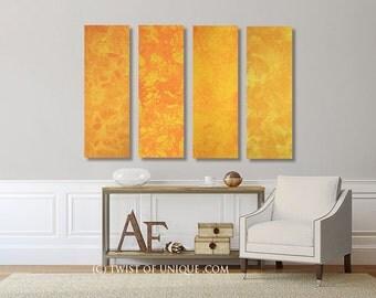 Oversized Sunset painting/ Oversized Sunrise painting/ 4 set of (36 x 12) paintings /  Yellow, Orange / Ready Now Original Painting