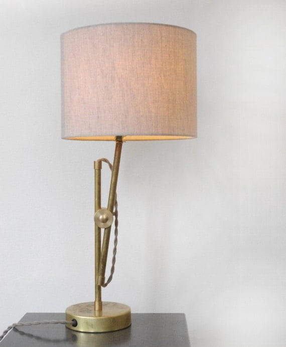 solid brass table lamp with flax linen drum shade mid. Black Bedroom Furniture Sets. Home Design Ideas