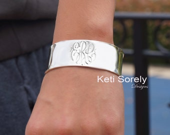 Silver Cuff Bangle With Monogram Initials - Hand Engraved Monogram Bangle - (Order Any Initials) - Sterling Silver, Yellow Gold, Rose Gold