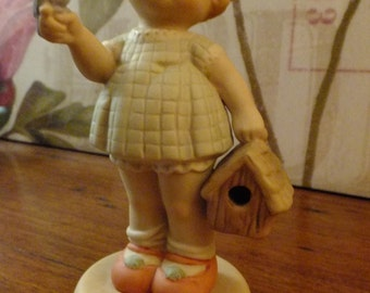 Memories  of Yesterday Vintage Enesco porcelain bisque figurine 'Welcome to your new home'