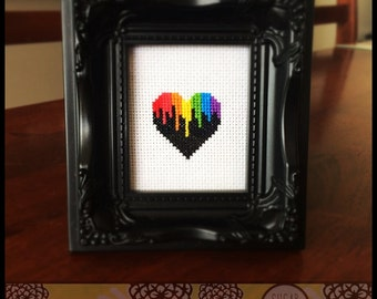 Rainbow Drip Heart Cross Stitch PDF Pattern - Immediate Download from Etsy - Kawaii Love Bright Colors