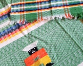 Vintage Woven African Tablecloth and Napkin Set