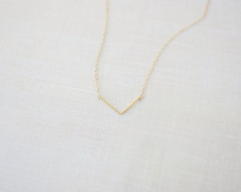 Falling Triangle Necklace (14k Gold Filled or Sterling Silver, Minimal, Layering, Arrow)