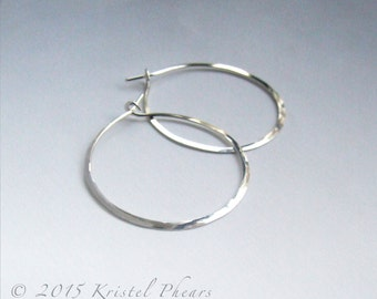 """RESERVED - Titanium Hoops 1.5"""" - Large Eco-Friendly Artisan Silver hoop earrings hammered simple basic 36mm 35mm 18ga 20ga Made in USA"""