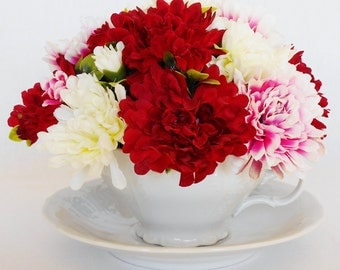 Teacup Silk Flower Arrangement, Red, White & Pink Mini Mums, Vintage White Embossed Teacup, Artificial Flower Arrangement, Silk Floral,
