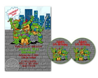 Personalized TMNT Ninja Turtles Boys Birthday Party Printable Invitation & tags