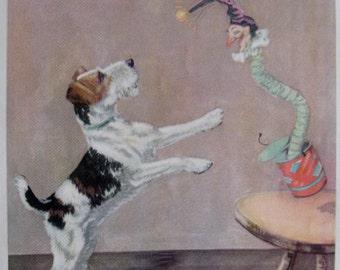 Playful FOX TERRIER Print Fox Terrier Art Print Childrens Decor Nursery Decor Vintage 1930s Print Plaindealing 788