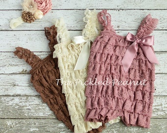 Baby Romper & Baby Headband Newborn Lace Romper Newborn Photo Props Newborn Romper Petti Romper Lace Petti Romper Baby Girl Birthday Outfit