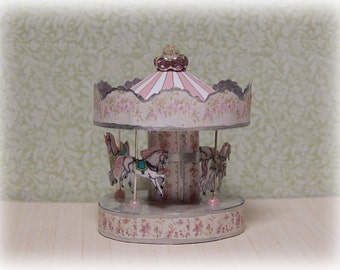 Carousel horses miniature, dollhouse 1:12 scale