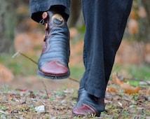 Moccasins - Tao Yin Dancing Elf Qi Gong Boots  - Tai Chi Zen - Custom Yin Yang Leather Moccasin Boots - Fairy Boots - Buffalo Moccasins