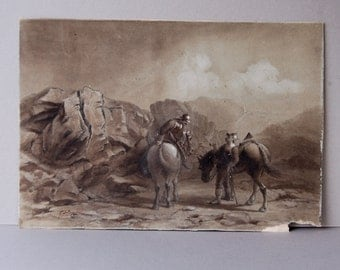 Antique watercolor painting Soliders on horseback Landscape watercolor Military painting Mounted soliders Wall hanging